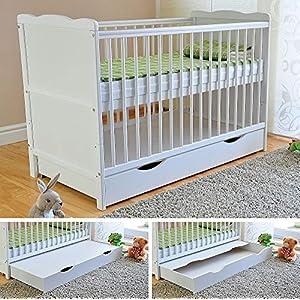 BABY Gitterbett mit Schublade mit Deckel Babybett Kinderbett mit Aloe Vera Schaumstoffmatratze Zahnschienen höhenverstellbar Weiß umbaubar zum Juniorbett