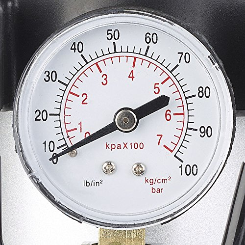Lescars Auto Luftpumpe: Mobiler Luft-Kompressor, Manometer, 12 V, 100 psi, 288 Watt, 3 Adapter (12 V Kfz Druckluft Kompressoren) - 4
