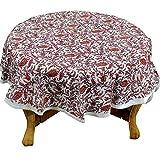 RoyaltyRoute Pink Floral Runde Tischdecken in Baumwolle Stoff indische Home Decor-Ideal für 4 Maßgedecke (Durchmesser ca. 100 Cm)