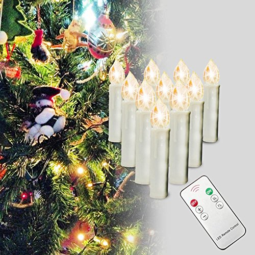 SZYSD 20Stk LED Weihnachtskerzen Kerzen Lichterkette Kabellos Christbaum Baumkerzen Warmweiß