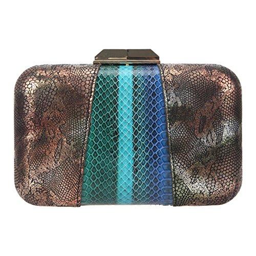 Bonjanvye Snakeskin Color Block Evening Bag Leather Clutch Purses for Women-Multicolor -
