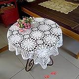 Ustide, Handgefertigte Häkeltischdecke, Spitzentischdecke mit Blumenmuster, weiße Tischdecke für Hochzeiten, quadratisch, 90 cm