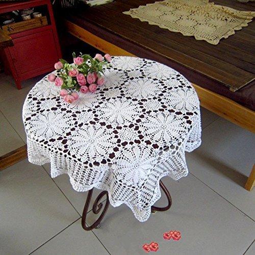 ustide handgefertigt Häkel Tischdecke weiß Spitze Tisch Bezug quadratisch Blumen Tischdecke weiß Tischdecke für Hochzeiten 89cm Round Table Cover Hochzeit