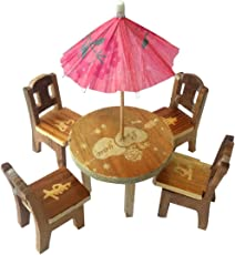 Trinkets & More Cute Wooden Doll House Miniature Dinning Table For Kids 3+ Years