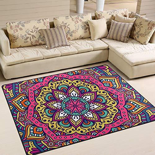 Naanle - Alfombra Antideslizante para salón, Comedor, Dormitorio, Cocina, 120 x 160 cm, diseño de Mandala Floral, 60 x 90 cm(2' x 3')