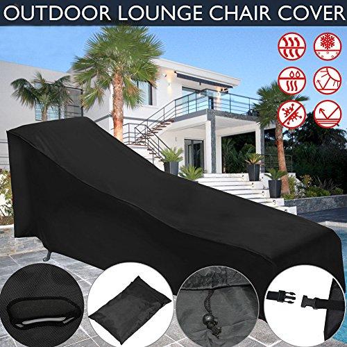 S-tubit Garten Möbel Lounge Stuhl, 210D Oxford Möbel Staub Wasserdicht Cover (200x 68x 40–70cm)-Schwarz (Bench Cover Lagerung)