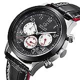 Herren Sportuhr Chronograph Analog Quarz wasserdicht schwarz Leder Armbanduhren mit Kalender 12/24 Stunden