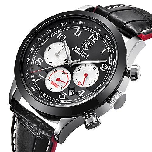 Herren-Armbanduhr Chronograph Analoge Quarz, wasserdicht, schwarzes Leder Uhren mit Kalender 12/24Stunden