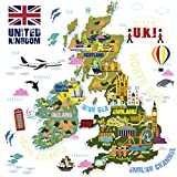 homeevolution Large Educational UK Welt Karte Kinder Wandaufkleber Aufkleber, schälen und Stick Decor Kunst für Kinder Kinderzimmer Spielzimmer Schlafzimmer
