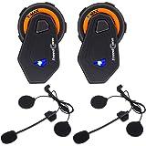FreedConn Motorrad Headsets, Bluetooth Helm Intercom Vollduplex Sprechanlage Walkie Talkie 6 Fahrer Gruppe Intercom Communicator Headset 1000M|FM Radio|Voice Prompt (2 Packs)