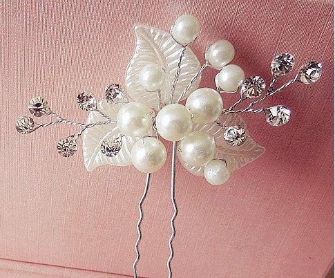 Damen Haarschmuck Accessoires Haarblumen Haargesteck Haarnadeln Perlen Hochzeit Strass Tiara Diadem WEISS Braut Haarschmuck Neu Modell