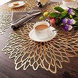 EQI Tischset Rund Gold, Platzset Rund für Hochzeit, Geburtstag, Weihnachten, Rutschfest, Durchmesser 38CM (Gold,6) - 5
