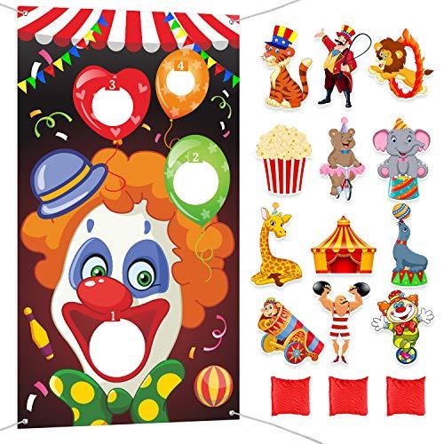Kostüm Affe Zirkus - Blulu Karneval Party Lieferungen Kit, Karneval Clown Werfen Spiel mit 3 Stück Sitzsack, 24 Stück Zirkus Thema Karneval Ausschnitte für Kinder Erwachsene Karneval Party Spiel Dekoration