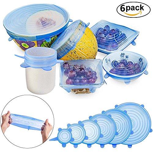 Silikondeckel, 6er-Pack in verschiedenen Dehnbare Größen Silikon-Stretch-Deckel Food Saver Covers Sicher für Dosen, Schüsseln, Becher, - 10 Zoll Mikrowelle Glas