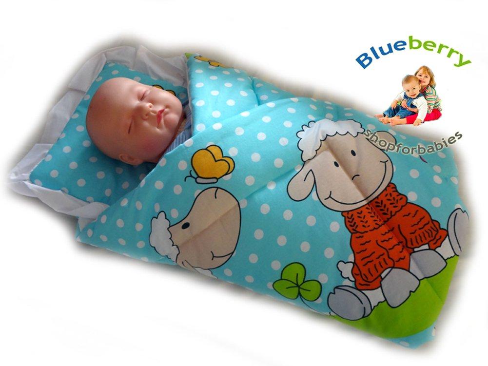BlueberryShop Manta de Actividades Sábana Edredón Saco de Dormir Regalo Algodón 0-4m (0-3m) (78 x 78 cm) Azul