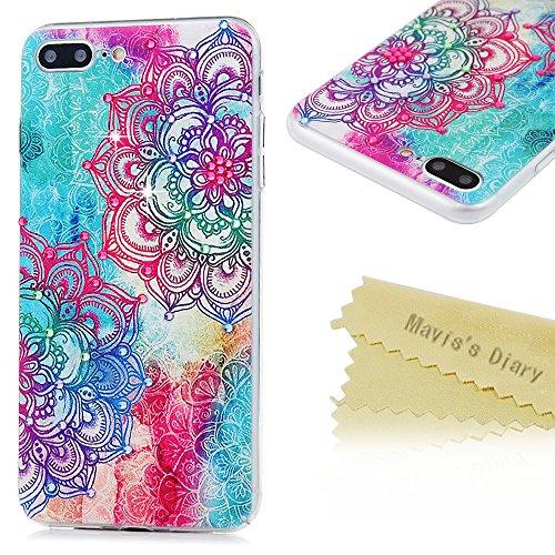 Mavis's Diary Coque iPhone 7 Plus PC Rigide Bling Strass Totem Fleur Dessin Housse de Protection Étui Téléphone Portable Phone Case Cover+Chiffon motif 13