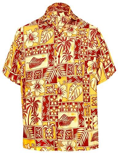 La Leela Männer Entspannt Fit Aloha Hawaiische Kurze Ärmel Knopf Unten Hawaiihemd Rot XXL (Unten Rot Männer)