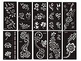 Henna Tattoo Schablonen 10 Sheets Set Flowers zur einmaligen Verwendung für Körper auch für Glitter Tattoo und Air Brush Tattoo geeignet