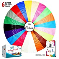 Stylo High Quality 3D filament refills PLA 1.75 mm thickness - 20 colors (6 glow in the dark) - Free stencils ebook included - Used for 3d pen, art drawings, and 3d printers for Adult and Kids