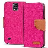 Verco Galaxy Note 4 Hülle, Schutzhülle für Samsung Galaxy Note 4 Tasche Denim Textil Book Case Flip Case - Klapphülle Pink
