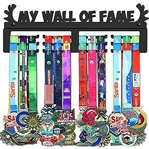 WEBIN Sport-Medaille Display Rack, Medaillen Aufhänger,My Wall of Fame,Trophäen Halter, Black Metal Medaillenhalter, Auszeichnungen Haken