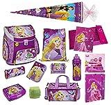 Familando Disney Princess Rapunzel Prinzessin Schulranzen Set 22tlg. mit Federmappe Dose Flasche Sporttasche Schultüte Scooli Campus Up RAVT8252