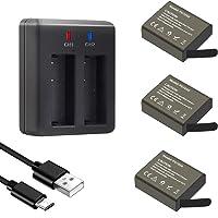 GeeKam Action Caméra Batterie 1050mAh Batteries Rechargeables (3 pièces) avec USB Chargeur pour Crosstour/Campark…