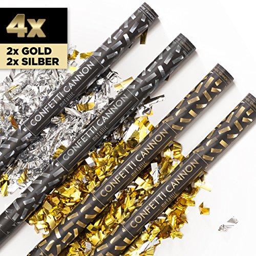 PartyMarty 4 x XXL Konfetti-Shooter Gold & Silber 80 cm - Party Popper Konfettikanone Konfettishooter Streamer - für Silvester, Hochzeit, Party, Geburtstag & Co GmbH® (Poppers Silvester-party)