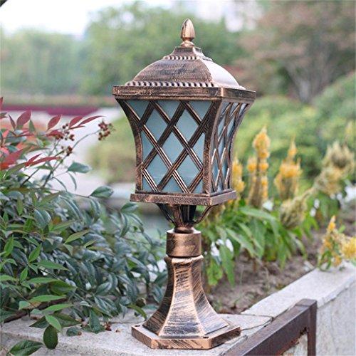 Outdoor stehlampe außen gartenlaternen für draußen Bronze Farbe Europäischer Zaun Lampe Außenleuchte Säule Kopf-Lampen-Garten-Lampe Rasen-Lampe Landschaft Torpfosten Lampe Außenleuchte Wandleuchte 666 -