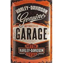 Nostalgic Art Harley Davidson Garage - Placa decorativa, metal, 40 x 60 cm, color naranja y negro