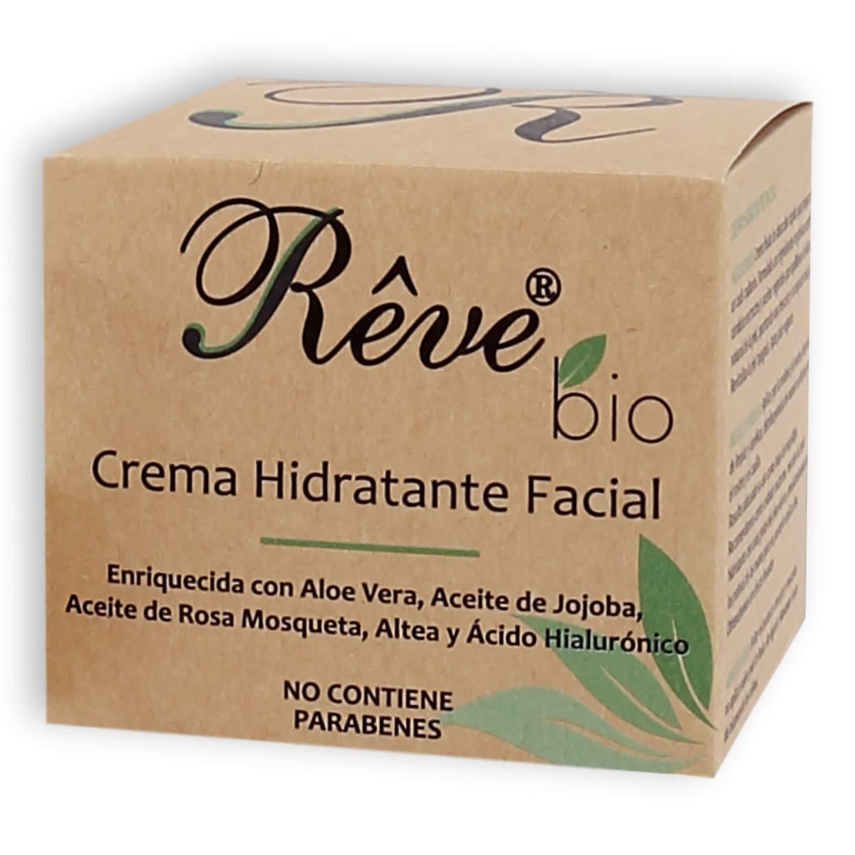 REVE Crema Hidratante Facial Bio – Hombre y Mujer, Día y Noche, fluida y de absorción rápida en la cara para todo tipo de pieles, apta para Veganos y pieles sensibles – 50 ml