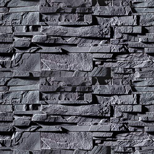 murando - Fototapete selbstklebend 10m 3D Tapete Wandtattoo dekorative Möbelfolie Dekorfolie Fotofolie Wandaufkleber Wandposter Wandsticker - Steinoptik grau Steinwand f-B-0226-an-a
