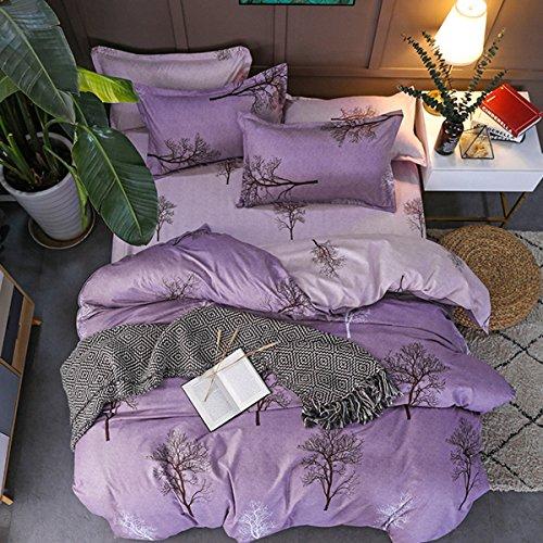 jlliqin Bettbezug Pflanzen Blumen Bettwäsche eine vierköpfige Familie (Decke x1and sheetsx1 und Kissenbezüge x2)