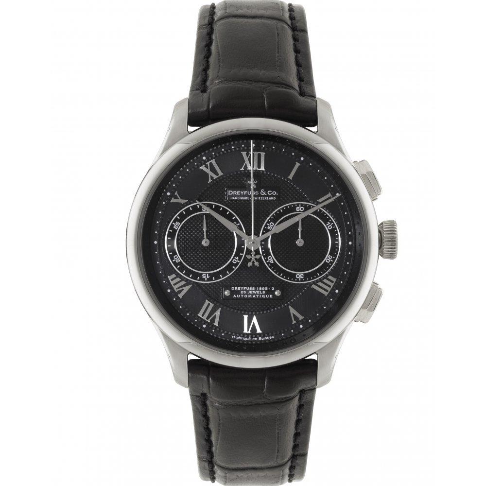 Dreyfuss DGS00094/10 Automatic Stainless Steel Case Black Calfskin Mineral Men's Watch