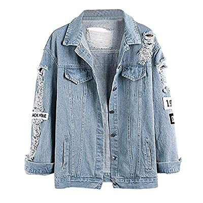 Allouli Loose Fit Long Sleeve Retro Soft Ripped Denim Jeans Jacket Coat with Letter Printed