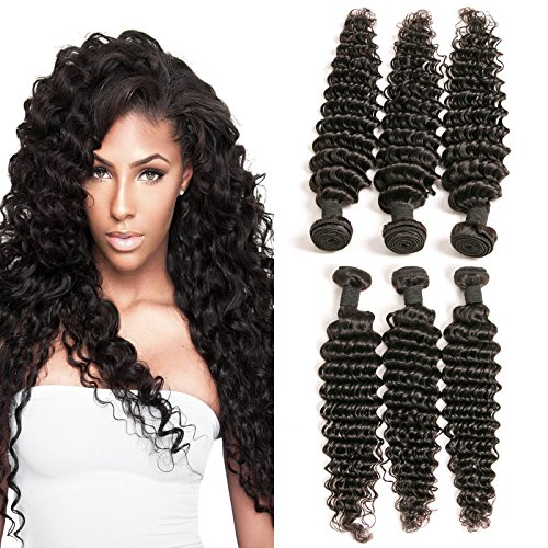 DAIMER Brazilian Curly Human Hair 3 Bundles 16 18 20 Inch Virgin...