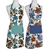 Airwill, 100% Cotton Oven Designer Printed Aprons, Sized 65cm In Width & 80cm In Length With 1 Center Pocket, Adjustable Buckle On Top And 2 Long Ties On Both 2 Sides. Pack Of 2 Pieces