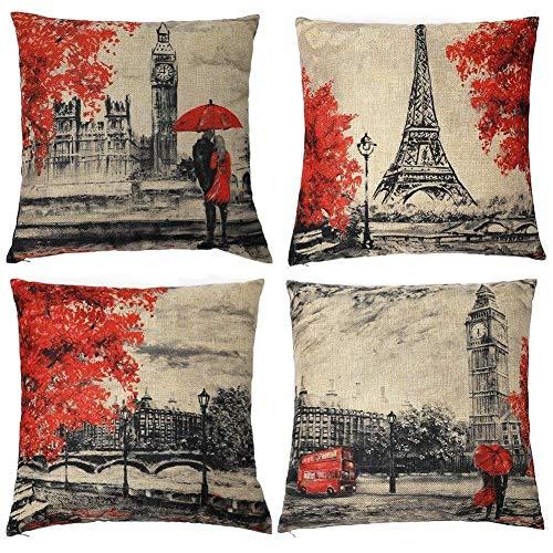 Baumwoll-leinen-muster (Freeas Kissenbezug 45 x 45 cm, Baumwolle Leinen Eiffelturm Kissenhülle Taille Wurf Kopfkissenbezug für Zuhause und Sofa, Schlafzimmer Dekoration, 4 Stück)