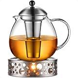 Glastal 1500 ml dzbanek do herbaty z podgrzewaczem, zaparzacz do herbaty ze szkła i stali nierdzewnej