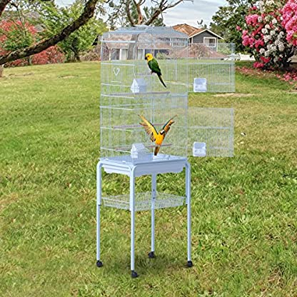 PawHut Large Metal Bird Cage w/ Breeding Stand Feeding Tray Wheels for Parrot Parakeet Macaw Pet Supply Light Blue 47.5L… 3