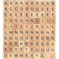 100 Scrabble Wood Tiles Complete Set Letter Game Alphabet Piece Pendants Name Deluxe Edition Tage for Scrapbooking by BSIRIBIZ