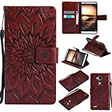 BestCatgift Ascend Mate7 Wallet Hülle, [Sun Flower] Mate 7 PU Leather Cover Wallet Phone Hülle für Huawei Ascend Mate7 - Brown