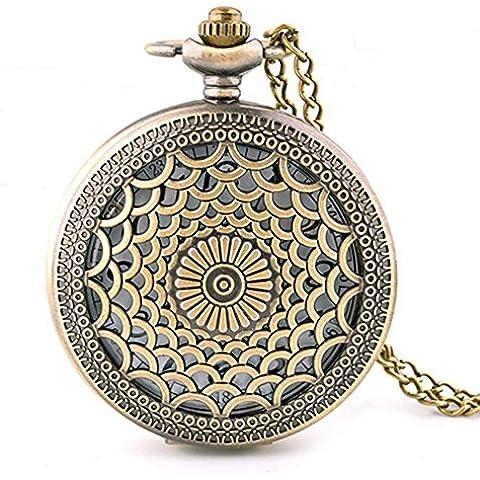 Moda calada tallada cubierta reloj de bolsillo collar bronce