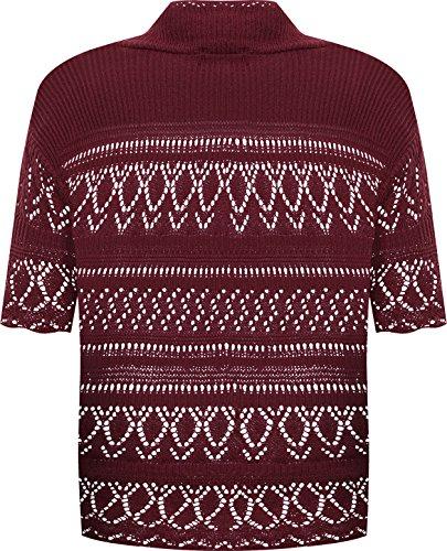 WearAll - Grande taille crochet tricoté bolero gilet top à manches courts - Hauts - Femmes - Tailles 48 à 54 Vin