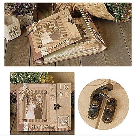 Woodmin Luxus DIY Foto Album Kit, Taschen Seiten Scrapbooking Box Kit, Hochzeit Album Valentinstag Geschenk (Dunkelgrau)