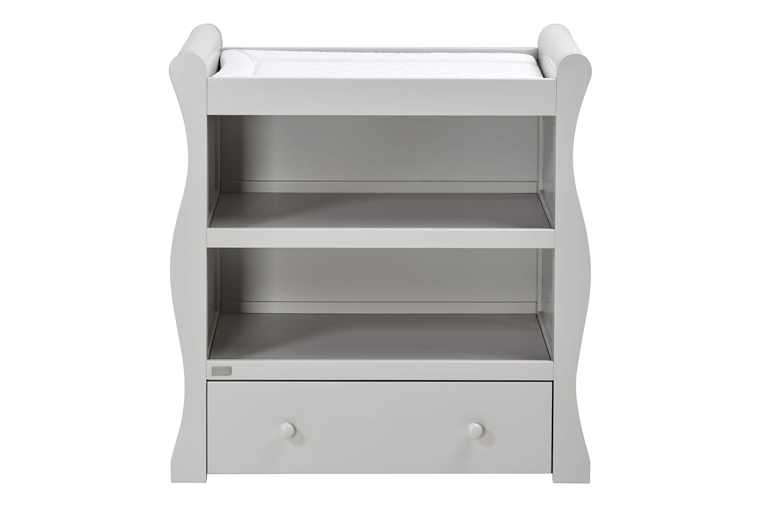 East Coast Nebraska Sleigh Dresser, Grey East Coast Integral changing area 1 Storage drawer 2 open storage areas 1