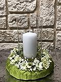 Tidschdeko Tischdekoration Nr.40 Tischgesteck elegant, Gesteck mit Kerze und Kranz apfelgrün Sommer moderne Tischdeko Sommerdeko - 2