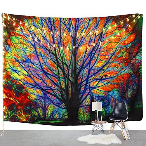 """amkun Colorful Tree Wandteppich für Psychedelic Forest mit Vögeln Mandala Hippie Bohemian Tapisserie Wand aufhängen, Wand mit Art Nature Home Dekorationen für Tischdecke, Wohnzimmer, Schlafzimmer als Wohnheim, baum, 59.1\""""X82.7\"""""""