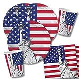 40-teiliges Party-Set USA - Teller Becher Servietten für 10 Personen