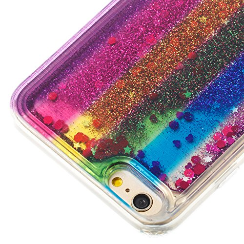 Custodia Per iPhone 6 Plus 5.5 Muovono Liquida Polvere scintillante [Arcobaleno modello] Sequin Cuori Glitter Flowing 3D Creative Disegno Copertura Sottile Gomma Protettivo Caso Modello Soft Shine Bl Verticale